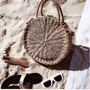 Handbags - Tan Straw cross body bags